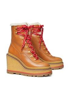 Tory Burch Platform Wedge Hiking Boot with Genuine Shearling Lining (Women)