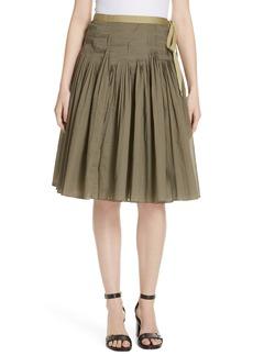 Tory Burch Pleat Cotton Wrap Skirt