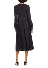 Tory Burch Pleat Detail Long Sleeve Crepe Dress