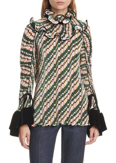 Tory Burch Pleated Convertible Ruffle Blouse