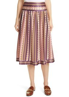 Tory Burch Pleated Silk Burnout Skirt