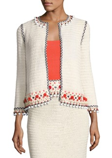 Tory Burch Pompom-Embellished Linen Jacket