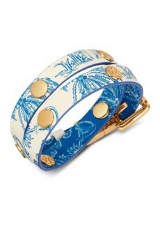 Tory Burch Printed Double Wrap Logo Stud Bracelet