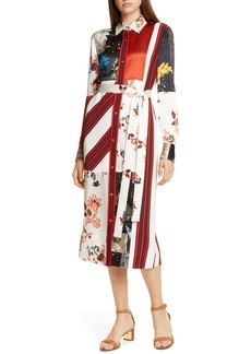 Tory Burch Printed Patchwork Long Sleeve Silk Blend Shirtdress