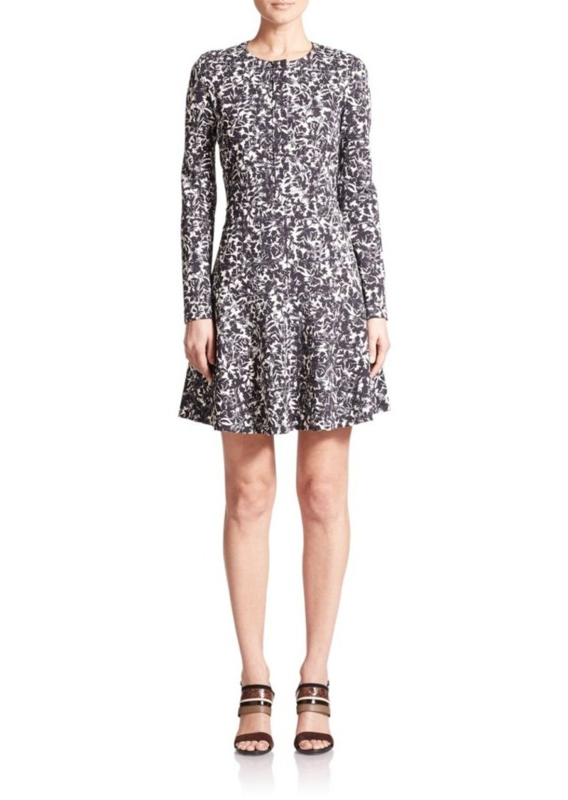 Tory Burch Printed Ponte Flounce Dress