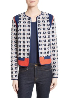 Tory Burch Rainford Clip Jacquard Quilted Jacket