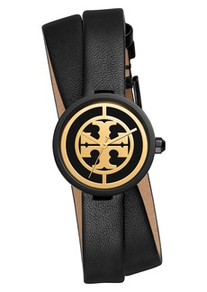 Tory Burch Reva Double Wrap Leather Strap Watch, 29mm