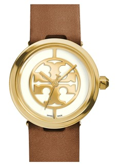 Tory Burch 'Reva' Leather Strap Watch, 36mm