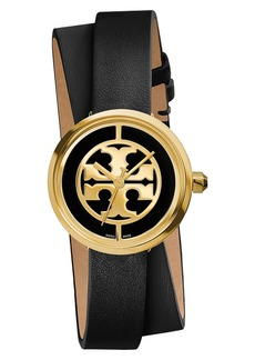 Tory Burch 'Reva' Logo Dial Double Wrap Leather Strap Watch, 28mm