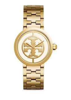Tory Burch Reva Goldtone Stainless Steel Bracelet Watch