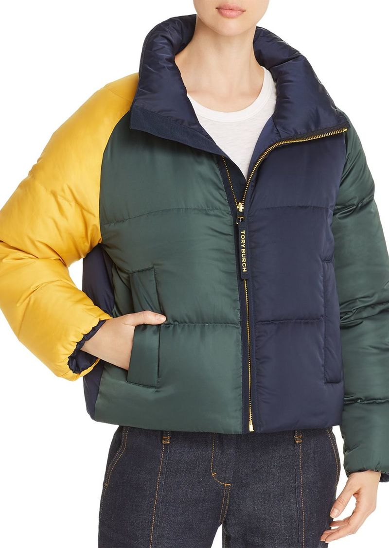 Tory Burch Reversible Color-Blocked Down Jacket
