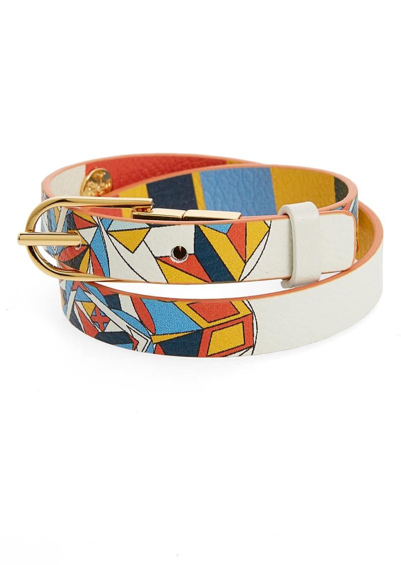 Reversible Leather Double Wrap Bracelet Tory Burch