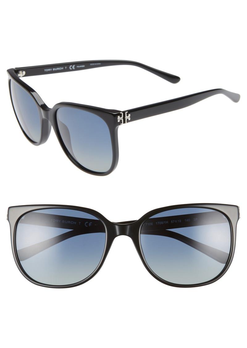 Tory Burch Revo 57mm Polarized Square Sunglasses