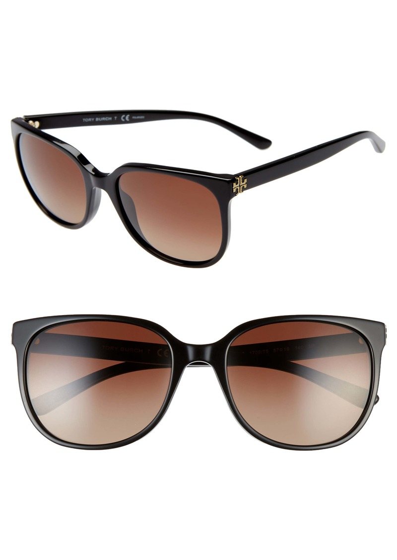 Tory Burch Revo 57mm Polarized Square Sunglasses