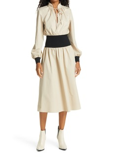 Tory Burch Rib Waist Long Sleeve Dress