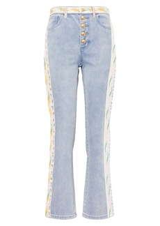 Tory Burch Ribbon Embellished Flare Jeans (Super Bleachout)