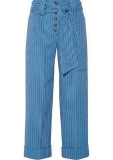 Tory Burch Robin pinstriped cotton-blend seersucker culottes