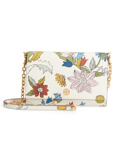 Tory Burch Robinson Floral Leather Wallet on a Chain