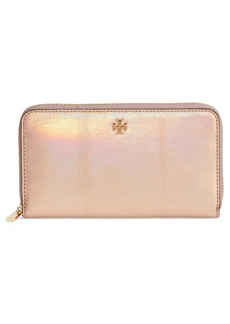 Tory Burch Robinson Metallic Leather Continental Wallet