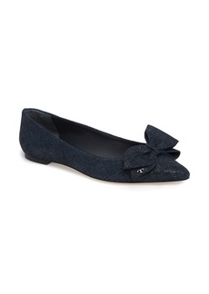 Tory Burch Rosalind Bow Pointy Toe Flat (Women)