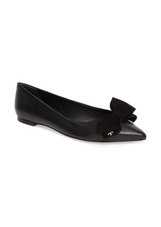 Tory Burch Rosalind Bow Pointy Toe Flat (Women)