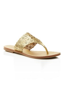 Tory Burch Roselle Metallic Cutout Thong Sandals