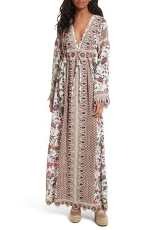Tory Burch Rosemary Lace Trim Silk Maxi Dress