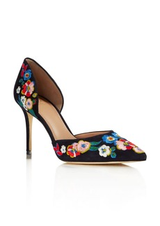 Tory Burch Rosemont Embroidered d'Orsay High Heel Pumps