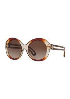 Tory Burch Round Chunky Plastic Sunglasses