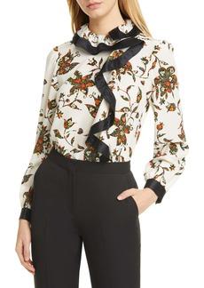 Tory Burch Ruffle Floral Silk Blouse