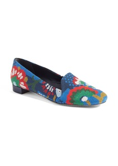 Tory Burch Sadie Floral Cross Stitch Loafer (Women)