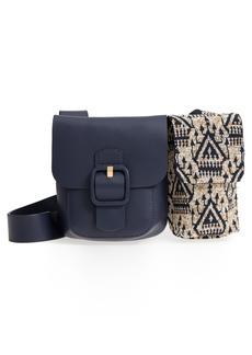 Tory Burch Sawyer Embellished Double Pocket Leather Shoulder Bag