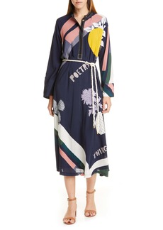 Tory Burch Scarf Print Embroidered Long Sleeve Midi Dress with Rope Belt
