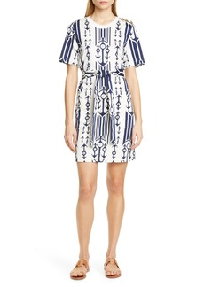 Tory Burch Seafaring Stripe Cotton T-Shirt Dress