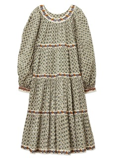 Tory Burch Sequin Logo Print Long Sleeve Tiered Dress