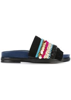 Tory Burch sequinned flat sandals - Black