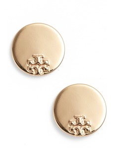Tory Burch Serif Stripe Disc Stud Earrings