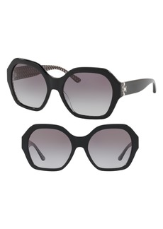 Tory Burch Serif T 57mm Hexagonal Sunglasses