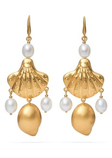 Tory Burch Shell & Freshwater Pearl Drop Earrings