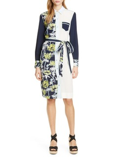 Tory Burch Silk Patchwork Long Sleeve Dress