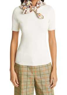 Tory Burch Silk Scarf Accent Ribbed Top