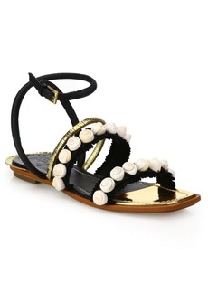 Tory Burch Sinclair Embellished Leather Sandals