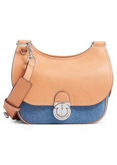 Tory Burch Small James Denim & Leather Saddle Bag