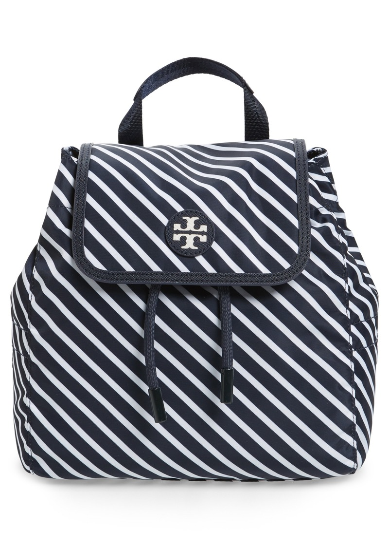 1201af10517 Tory Burch Tory Burch Small Scout Stripe Nylon Backpack