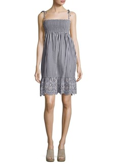Tory Burch Smocked Gingham Plaid Dress