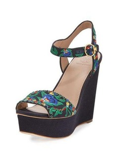 Tory Burch Sonoma Embroidered 120mm Wedge Sandal