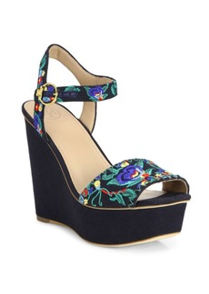 Tory Burch Sonoma Embroidered Wedge Platform Sandals
