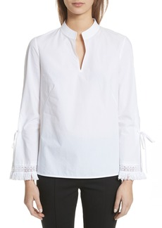 Tory Burch Sophie Tie Sleeve Cotton Blouse