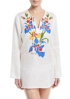 Tory Burch Split-Neck Long-Sleeve Linen Coverup Tunic w/ Floral-Embroidery