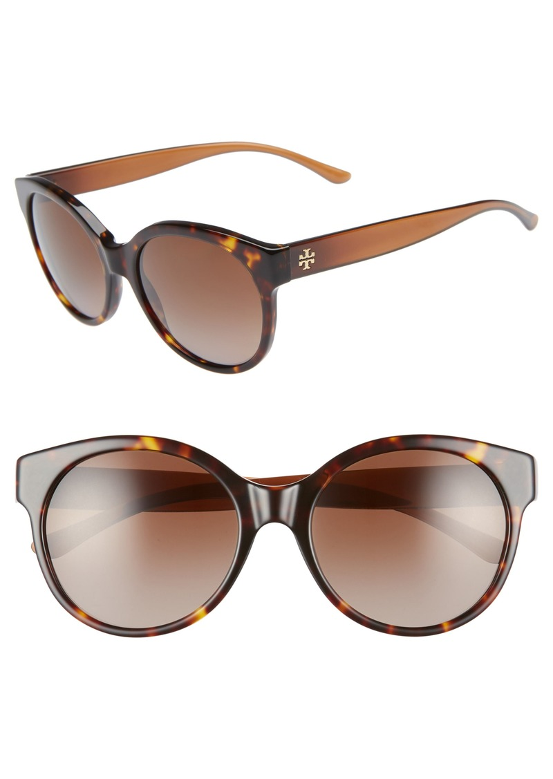 Tory Burch Stacked T 55mm Polarized Round Sunglasses